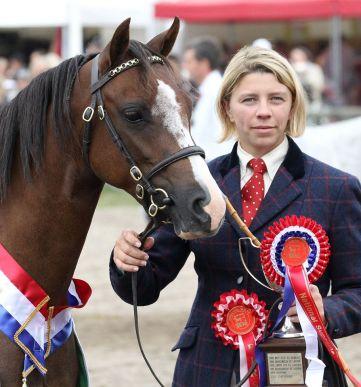 Ingrid Delaitre with Coppelia de l'Aurore, National Supreme champion in France 2014