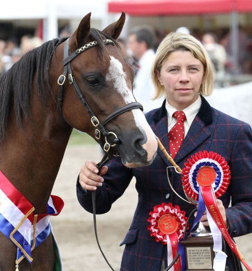 Ingrid Delaitre with Coppelia de l'Aurore, National Supreme champion in France 2014